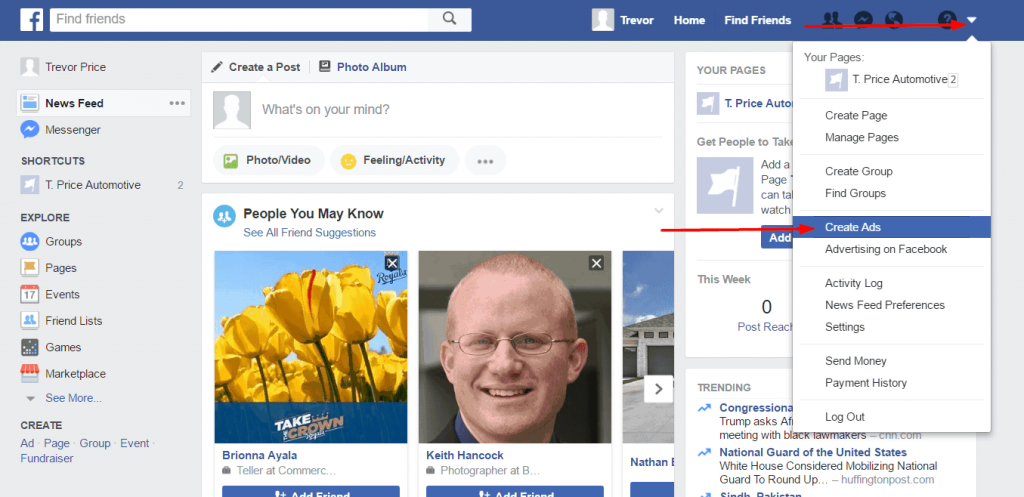 how to remove create ad from facebook page