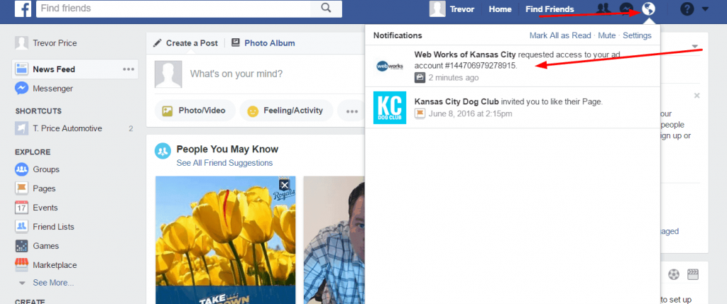 facebook ads account request notification 1024x429 - How to give your advertising agency access to your Facebook ads manager