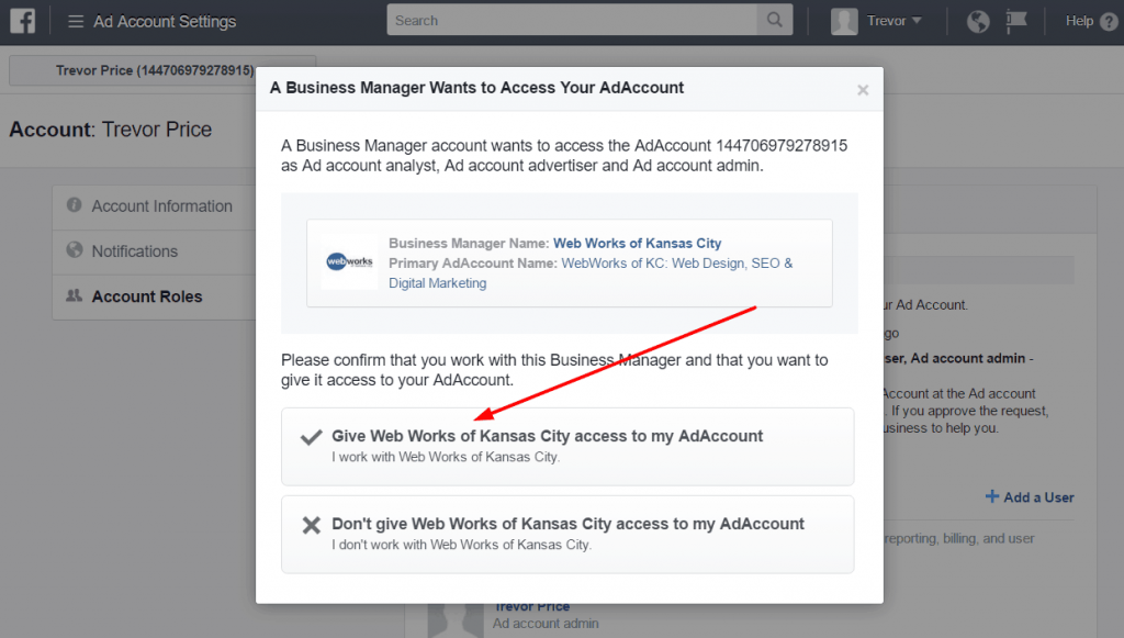 Give access to an agency to manage your Facebook ads account