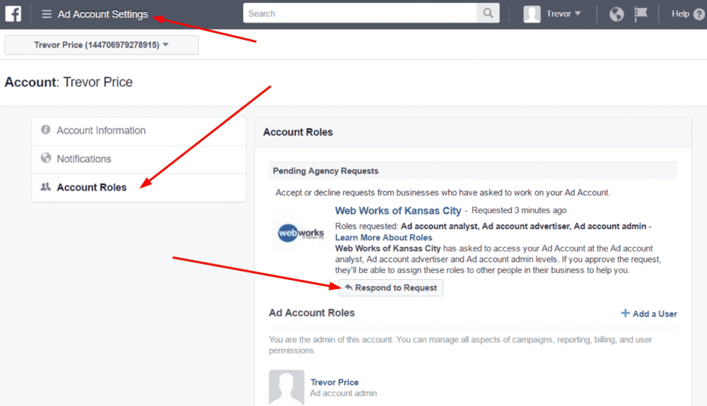 How to approve a request to manage Facebook ads account