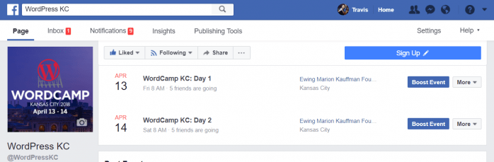 Facebook event for each day of a conference