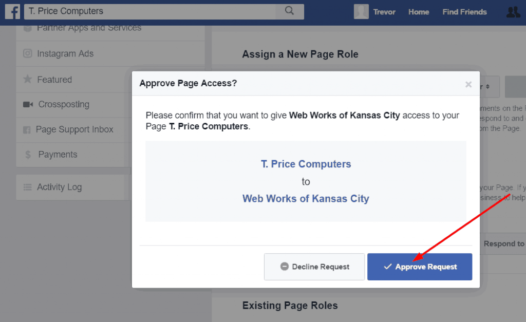 Make sure you want to give your agency access to manage your Facebook page