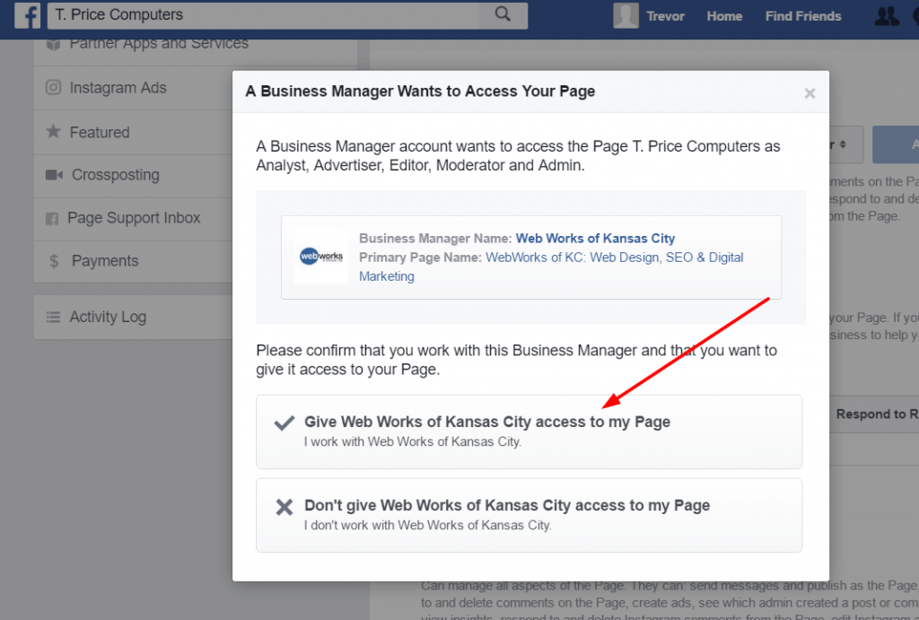 Verify that you want to give an agency access to manage your Facebook page