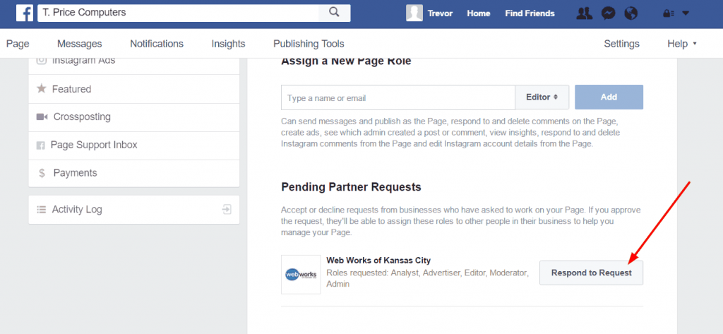 facebook page access respond to request 1024x473 - How to give your advertising agency access to your Facebook ads manager