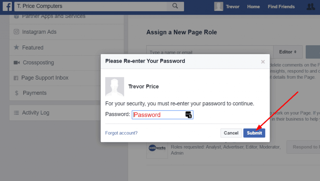Verify your identity to give your agency access to your Facebook page