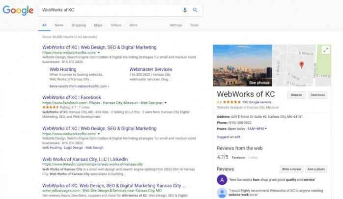 Google reviews and reviews link are displayed in the Knowledge Graph