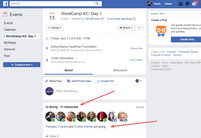 Make Facebook attendees visible to the public