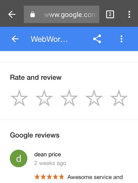 Select the 5th star in the Google Review